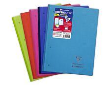 Clairefontaine Koverbook - Bloc de cours agrafé A4+ - 160 pages détachables perforées - petits carreaux (5x5 mm) - disponible dans différentes couleurs
