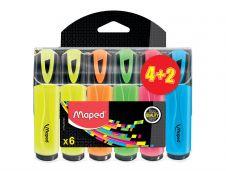 Maped Fluo Peps - Pack de 6 surligneurs - couleurs assorties