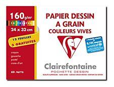 Clairefontaine - Dessin à Grain - pochette papier à dessin  - 15 feuilles - 24 x 32 cm - 160G