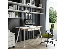 Bureau télétravail avec tiroirs - 120 cm - blanc/chêne - pieds métal blancs