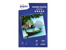 Avery - Papier Photo brillant - A4 - 270 g/m² - impression jet d'encre - 25 feuilles
