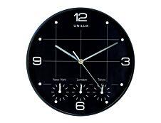 Unilux - Horloge On Time - mécanisme quartz - 4 fuseaux horaires - 30,5 cm - noir