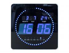 Unilux - Horloge Flo - carrée LED bleue - 28 cm - noir