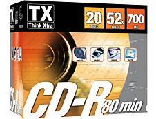 Think Extra - Pack de 20 CDR 80 MIN 52X slimcase