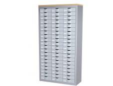 Meuble de rangement - 3 colonnes et 60 tiroirs - H169,5 x L87 x P33,5 cm - argent