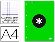 Antartik - Bloc vert de 100 feuilles simples A4 - petits carreaux - perforées