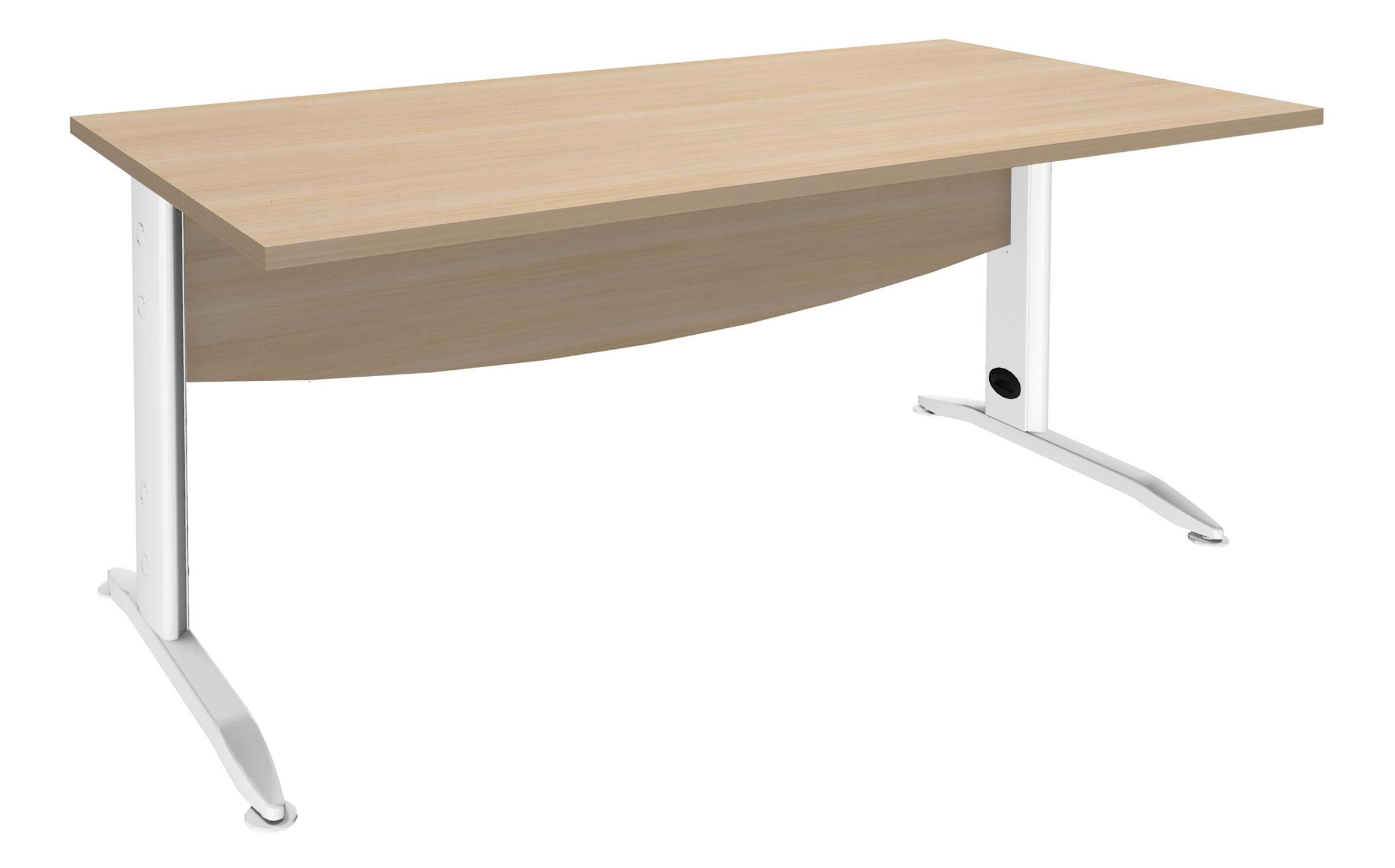 Bureau droit IDRA - L140 cm - Pieds blanc - plateau imitation Chêne clair