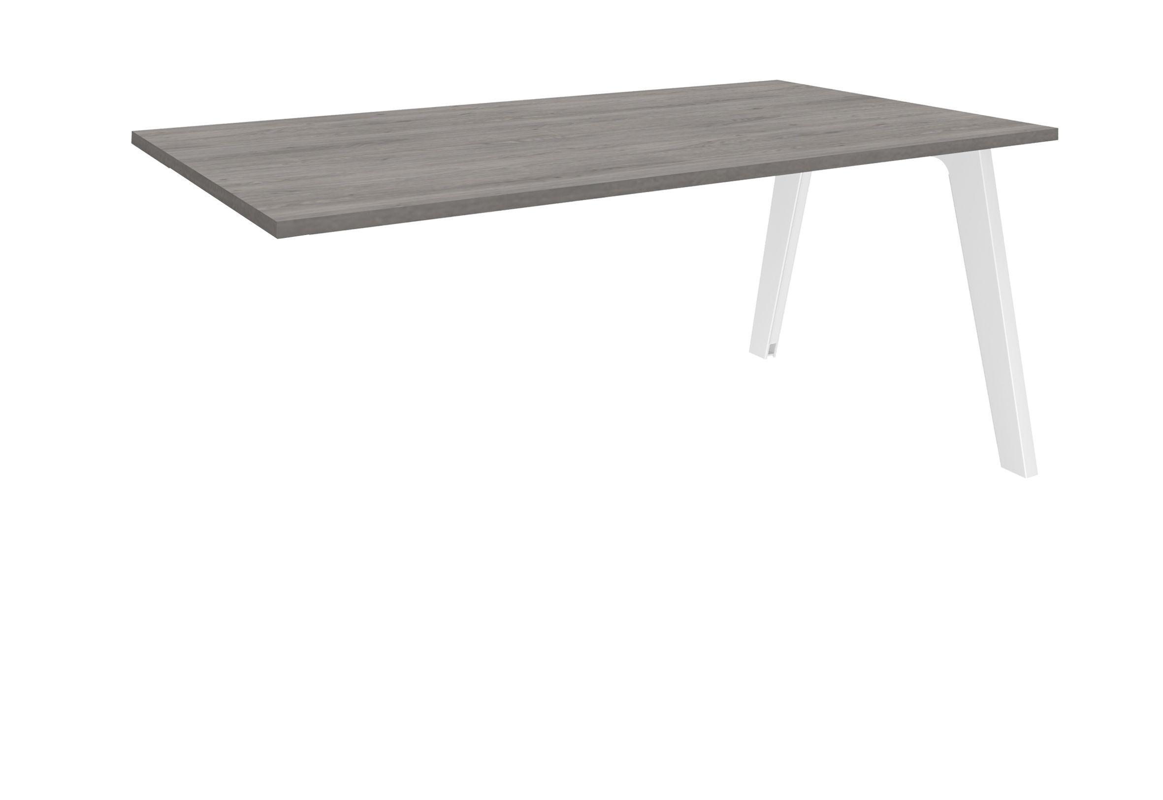 Bureau simple STEELY - L140 cm - Plan suivant - Pieds blanc - plateau imitation Chêne gris