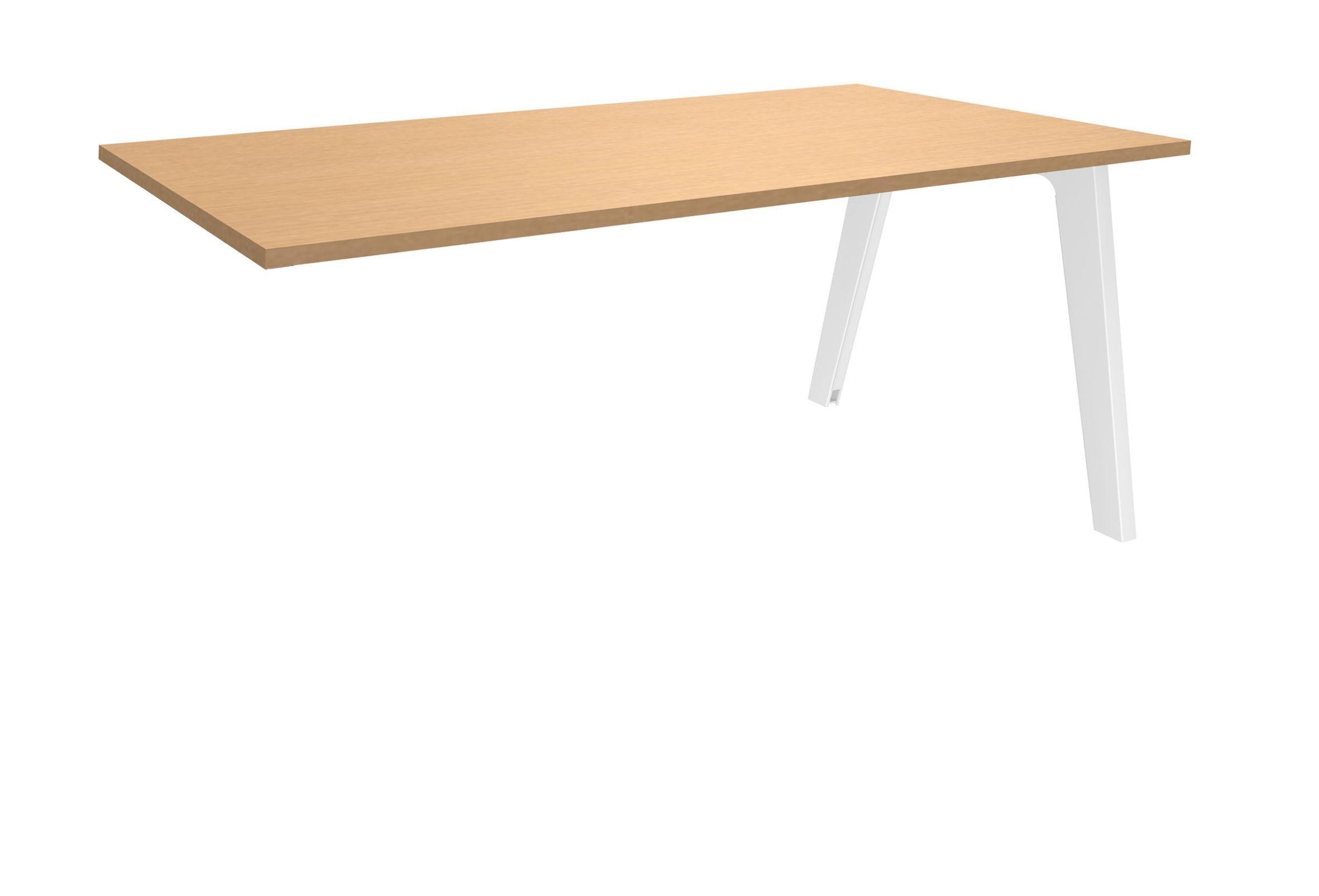 Bureau simple STEELY - L120 cm - Plan suivant - Pieds blanc - plateau imitation Hêtre