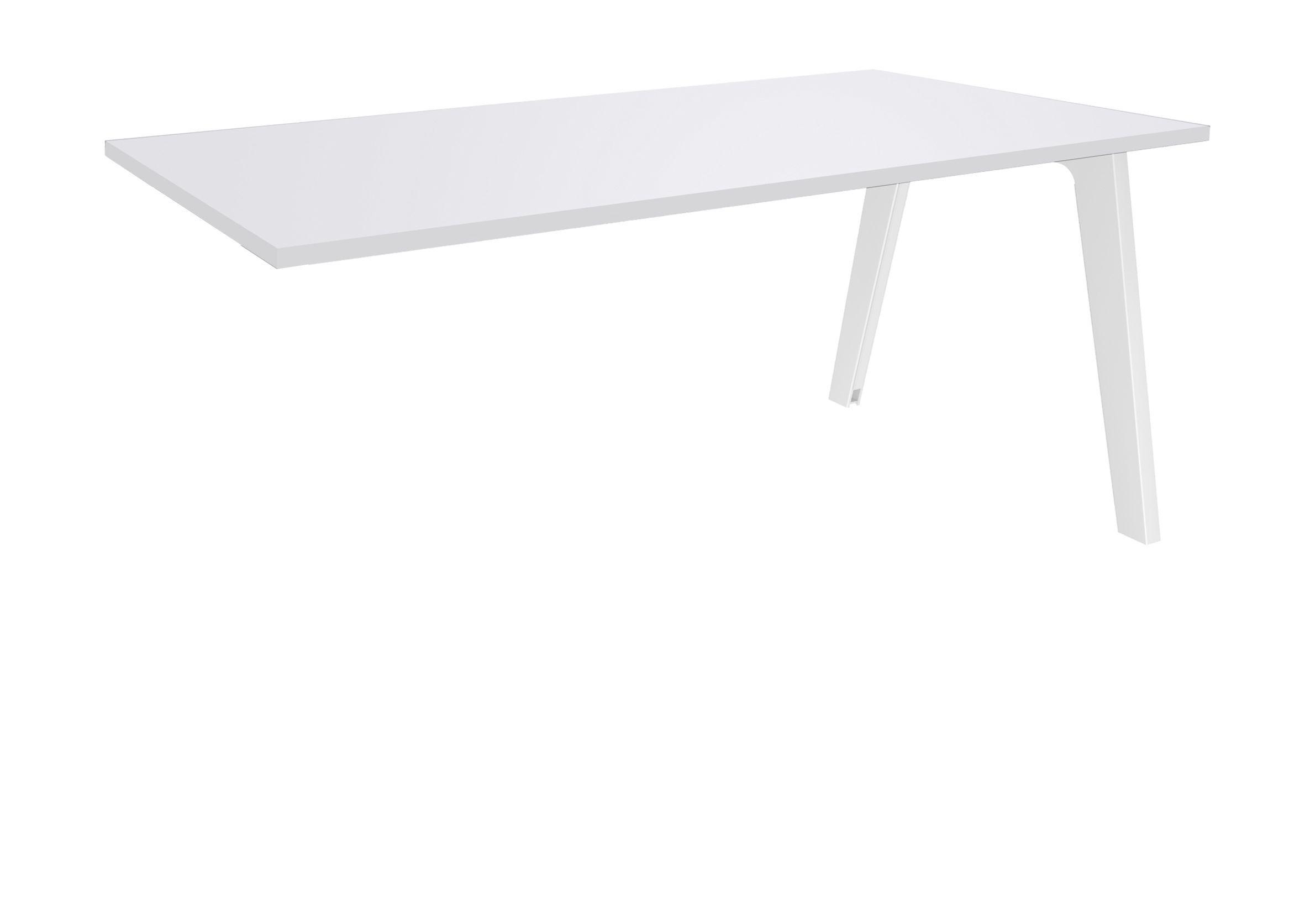 Bureau simple STEELY - L120 cm - Plan suivant - Pieds blanc - plateau Blanc Perle