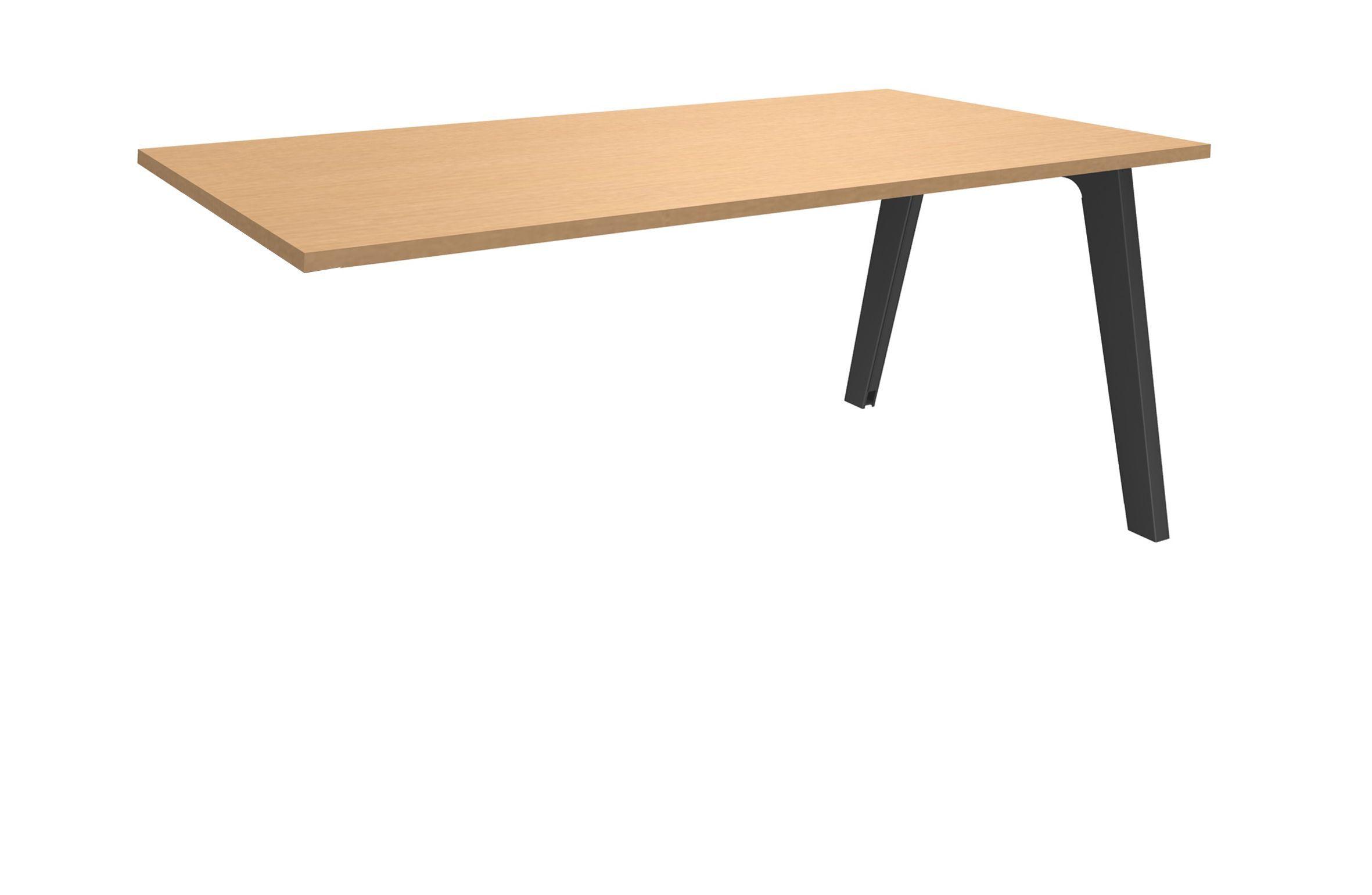 Bureau simple STEELY - L140 cm - Plan suivant - Pieds carbone - plateau imitation Hêtre