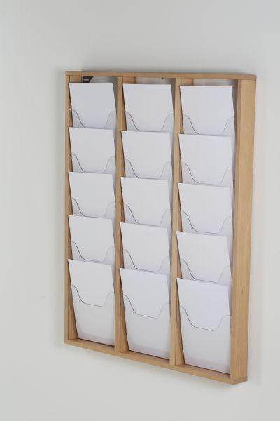 Promocome - Présentoir de journaux mural - 3 x 5 compartiments A4 - bois naturel