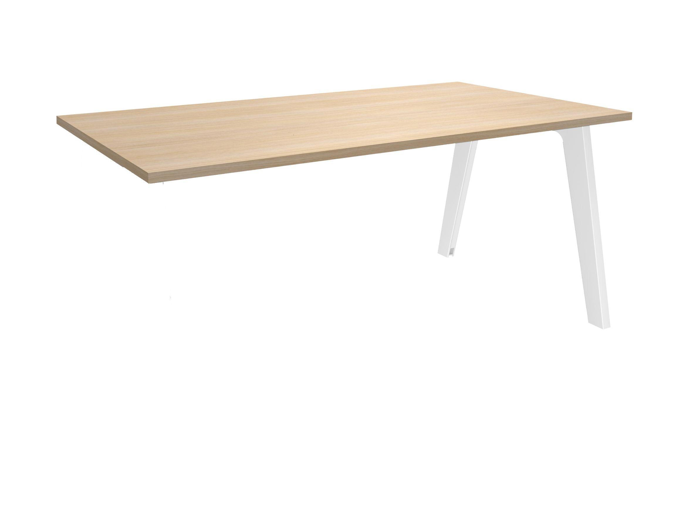 Bureau simple STEELY - L140 cm - Plan suivant - Pieds blanc - plateau imitation Chêne clair