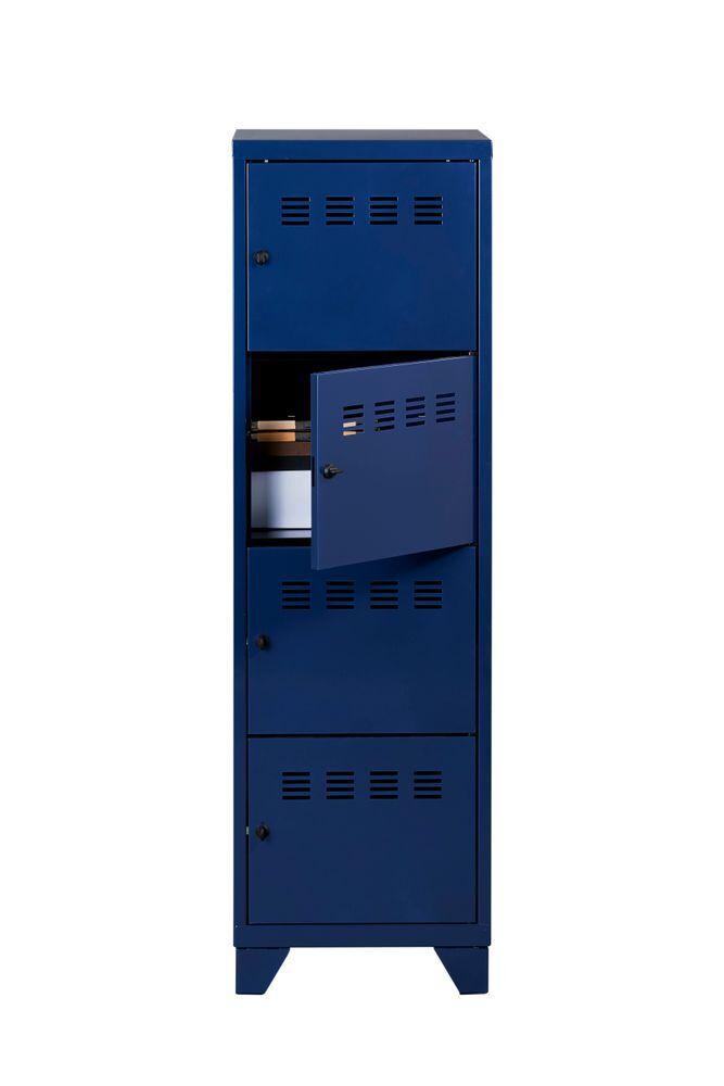 Casier De Bureau Monobloc Metallique Avec Pieds 4 Portes H134 X L40 X P40 Cm Bleu Nuit Nacre