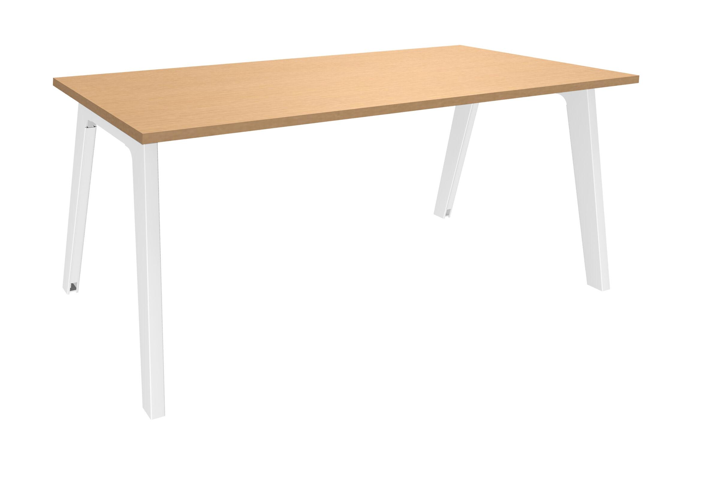 Bureau simple STEELY - L120 cm - Plan de départ - Pieds blanc - plateau imitation Hêtre