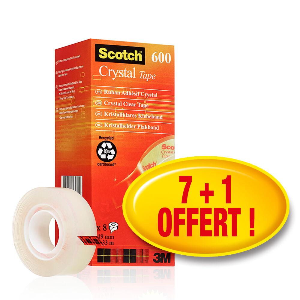 3M Scotch Ruban adhesif Crystal Clear 600 avec devidoir Scotch