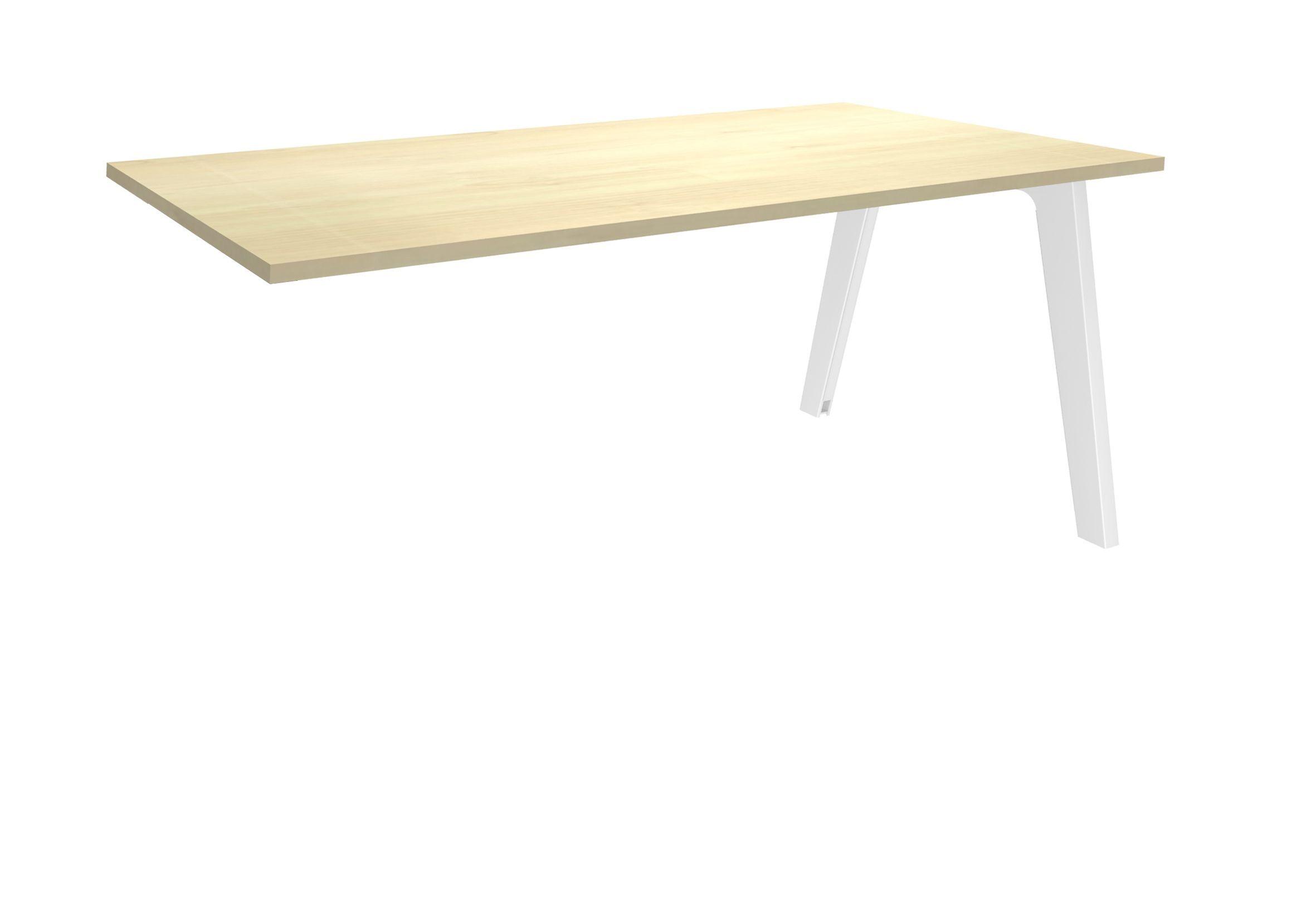Bureau simple STEELY - L140 cm - Plan suivant - Pieds blanc - plateau imitation Erable