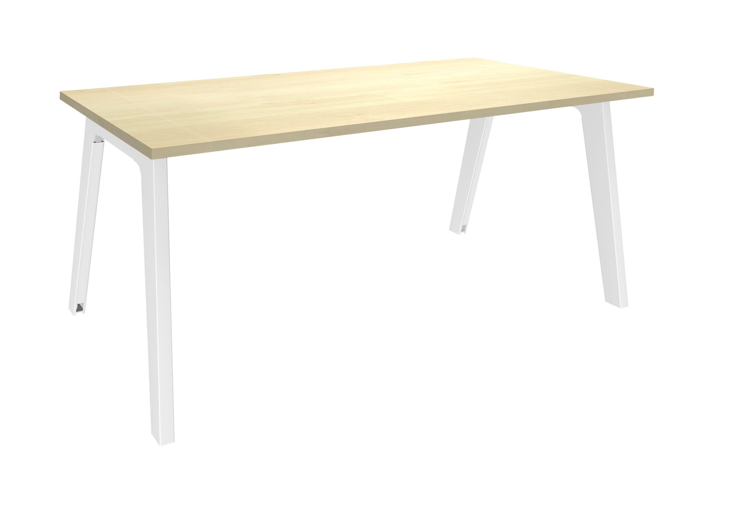 Bureau simple STEELY - L180 cm - Plan de départ - Pieds blanc - plateau imitation Erable