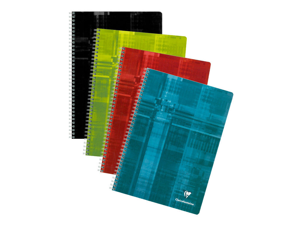 Lot de 2 cahiers /à spirales A4 avec 5 intercalaires perfor/és et marge pour revues 125 pages