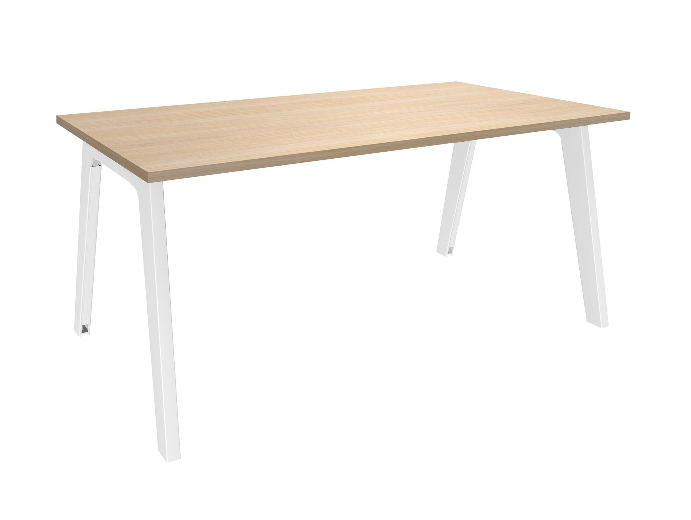 Bureau simple STEELY - L120 cm - Plan de départ - Pieds blanc - plateau imitation Chêne clair