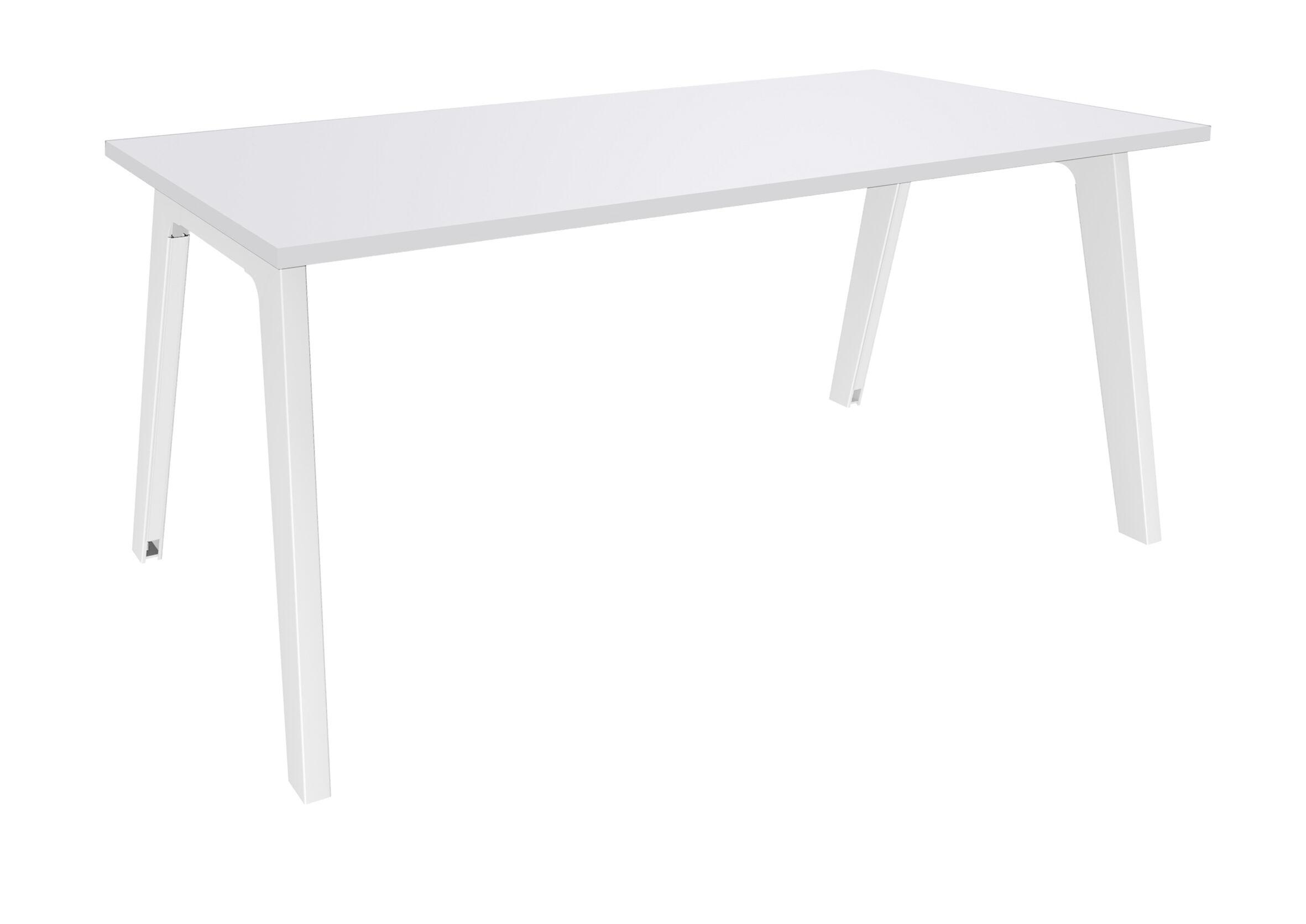 Bureau simple STEELY - L160 cm - Plan de départ - Pieds blanc - plateau Blanc Perle