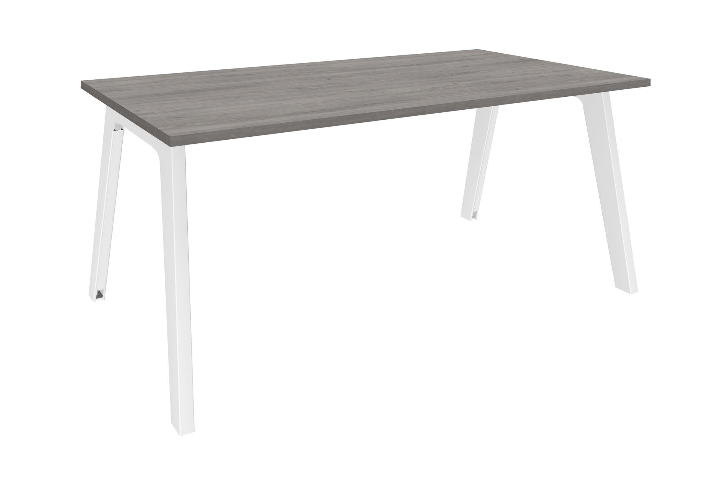 Bureau simple STEELY - L160 cm - Plan de départ - Pieds blanc - plateau imitation Chêne gris