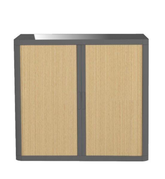 Armoire basse à rideaux EASY OFFICE - 110 x 104 x 41,5 cm - Corps et poignée anthracite - Rideaux imitation hêtre