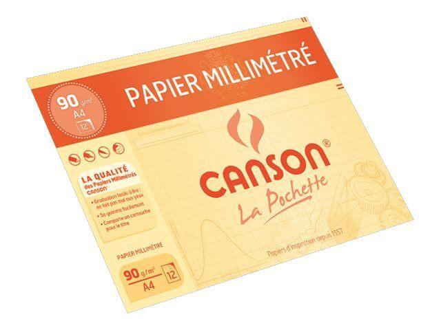 Canson Pochette Papier A Dessin Millimetre 12 Feuilles A4 90g Pas Cher Bureau Vallee