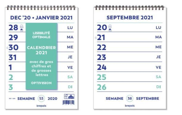 Optivision Wire O   Calendrier hebdomadaire   caractères agrandis
