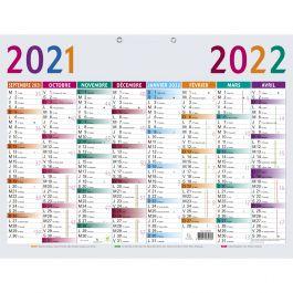 Calendrier Bureau 2022 Calendrier Multicolore 53 x 40,5 cm   Bureau Vallée