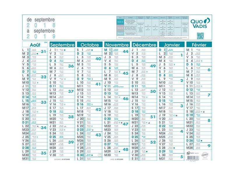 Calendrier de banque Août/Sept 7 mois par face Quo Vadis