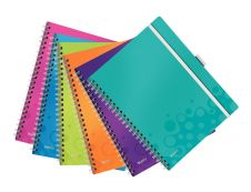 Leitz WOW Be Mobile - Cahier - A4 - 21 x 29,7 cm - 160 pages - Petits carreaux - assortiment de couleurs
